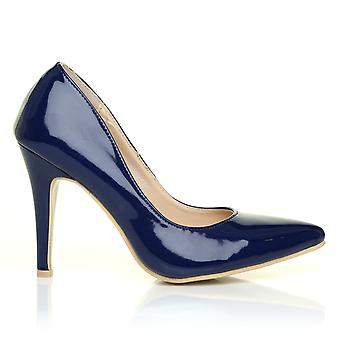DARCY Navy Patent PU Leather Stilleto High Heel Pointed Court Shoes