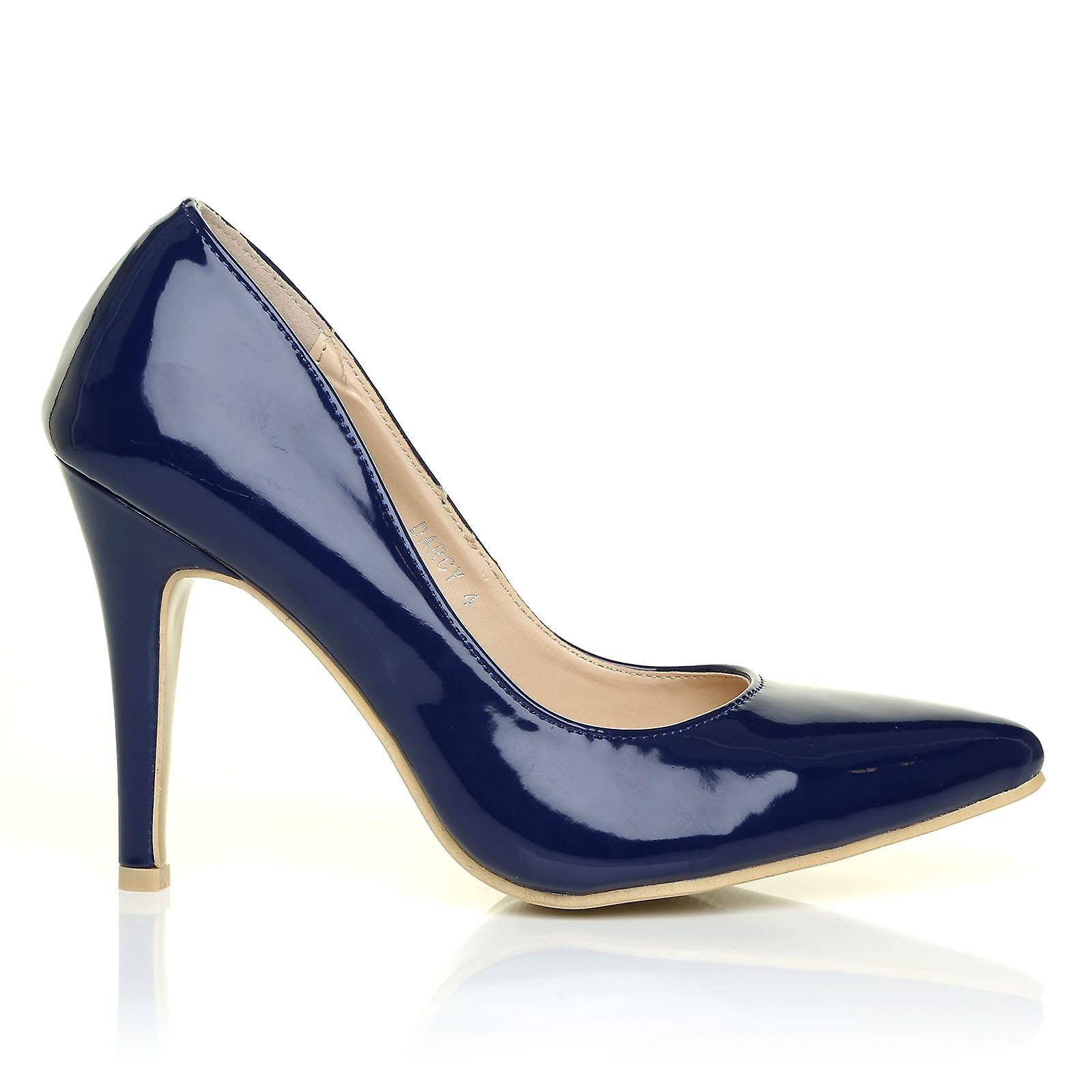 DARCY Navy Heel Patent PU Leather Stilleto High Heel Navy Pointed Court Shoes 274f3f