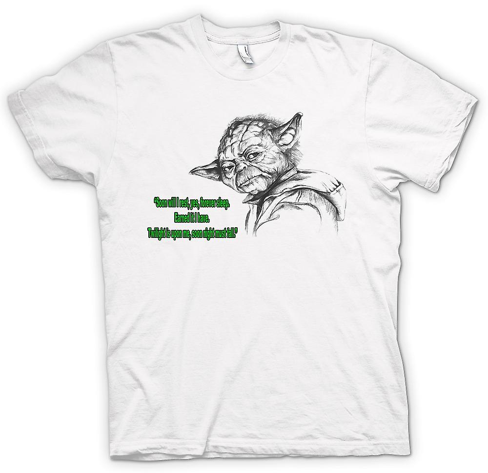 Mens T-shirt - Yoda - Sketch - Soon I Will Rest