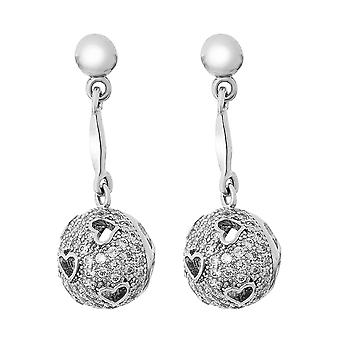 Orphelia Silver 925 Earring Ball With Heartshape Cutouts With Zirconium  ZO-7355