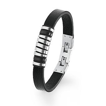 s.Oliver Jewel Herren Armband Edelstahl Leder IP BLACK 2020897
