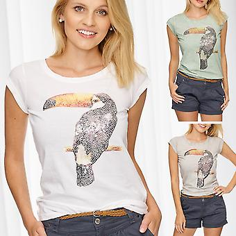 Ladies T-Shirt med Toucan Bird Print paljett topp KORA