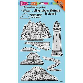 Stampendous Cling Stamp W/Template 9