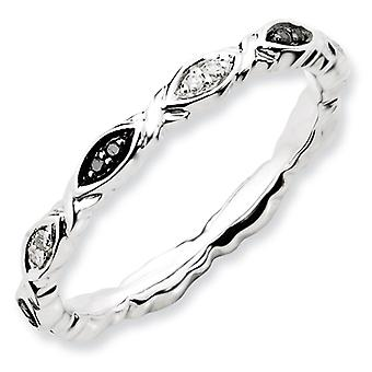 Sterling Zilver gepolijst Prong ingesteld patroon Rhodium-plated stapelbare expressies Black and White Diamond Ring - Ring Si