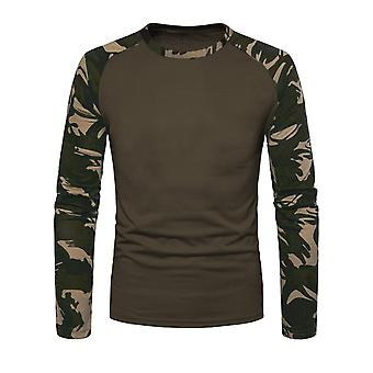 Mens Long Sleeve Shirt Camouflage Print Raglan Sweater Camouflage Military Army
