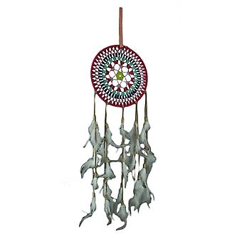 Pink and Blue Rings Feather Fringe Boho Dream Catcher