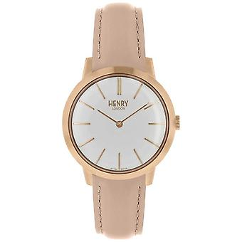 Henry London Iconic Womens White Dial Nude Leather Strap HL34-S-0222 Watch