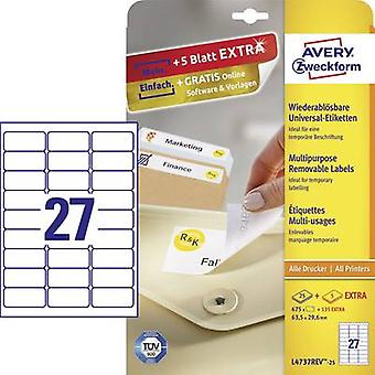 Avery-Zweckform L4737REV-25 Labels 63.5 x 29.6 mm Paper White 810 pc(s) Removable All-purpose labels Inkjet, Laser, Copi