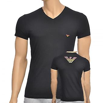Emporio Armani Eagle Stretch Cotton V-Neck T-Shirt, Black, Small