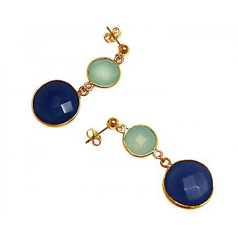 Earrings, 925 silver plated chalcedony faceted sapphire sea green blue - 4 cm