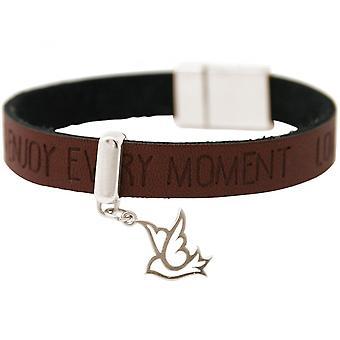 Damen - Armband - Frieden - Taube - Flügel - 925 Silber - WISHES - Braun Dunkel - Magnetverschluss