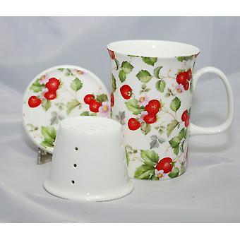 English Bone China Mug, Lid and Infuser
