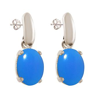 GEMSHINE ladies earrings with blue chalcedony gemstones. 925 Silver, high-quality gold-plated or rose 2 cm long earrings. Made in Munich / Germany