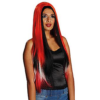 Yuna red long hair wig for ladies with black pony accessory Carnival