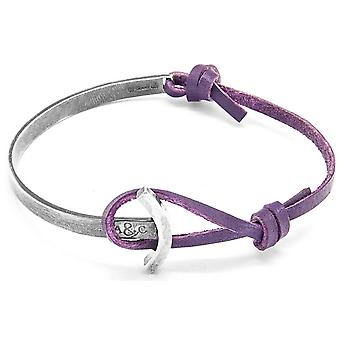 Anchor and Crew Galleon Silver and Leather Bracelet - Grape Purple