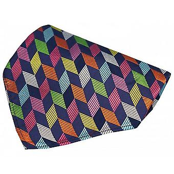 Posh and Dandy Geometric Shape Pocket Square - Navy/Multi-colour