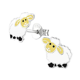 Sheep - 925 Sterling Silver Colourful Ear Studs