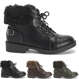 Kobiet Faux Futro zimowe walki wojskowych Comfort zamknięte Toe buty UK 3-10