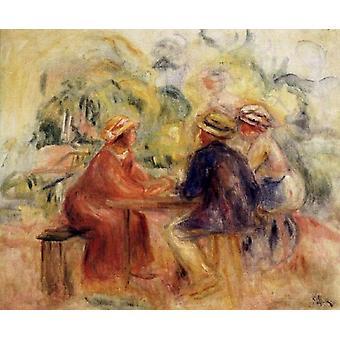 Reunión en el jardín, Pierre Renoir, 37x50cm