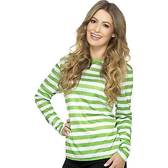 Stripy T-Shirt, Green, with Long Sleeve
