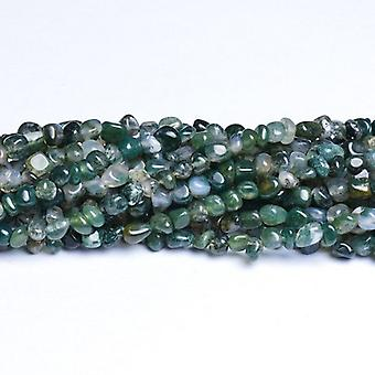 Strand 80+ Green Moss Agate Approx 3-5mm Smooth Nugget Beads CB37295