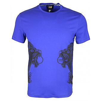 Cavalli Class Costina Stretch Cotton Jersey Lion Print Peacock Blue T-shirt