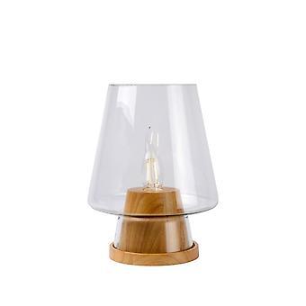 Lucide Glenn Vintage lampada luce tavolo legno vetro rotonda