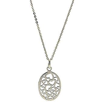 TOC Sterling Silver Cut Out Hearts Oval Pendant Necklace 18