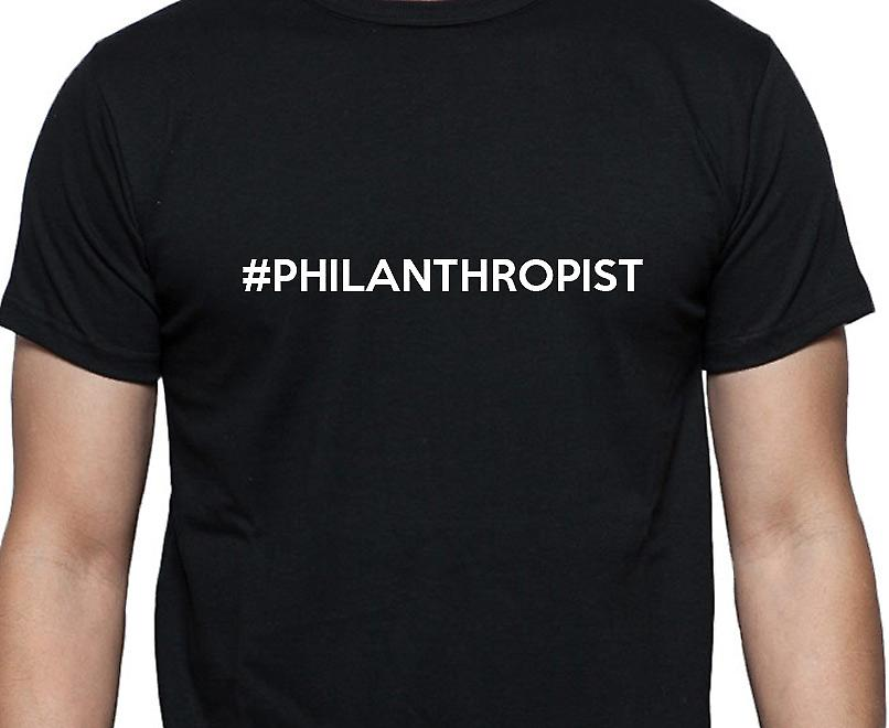#Philanthropist Hashag Philanthropist Black Hand Printed T shirt