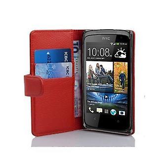 Cadorabo Hülle für HTC DESIRE 500 -Handyhülle aus strukturiertem Kunstleder mit Standfunktion und Kartenfach – Case Cover Schutzhülle Etui Tasche Book Klapp Style