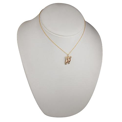 9ct Gold 23 x12mm Ballet Shoes with Bow Pendant with a cable Chain 16 inches Only Suitable for Children
