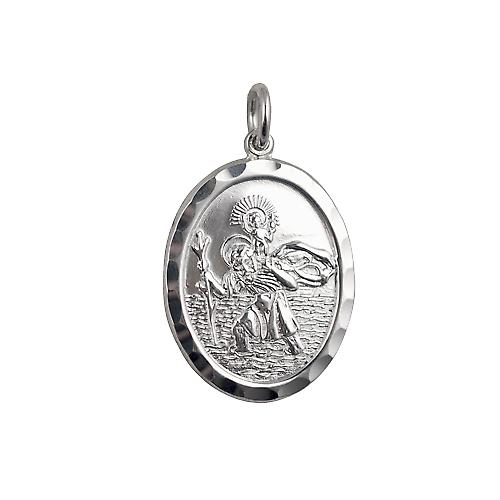 Silver 30x21mm oval diamond cut edge St Christopher Pendant