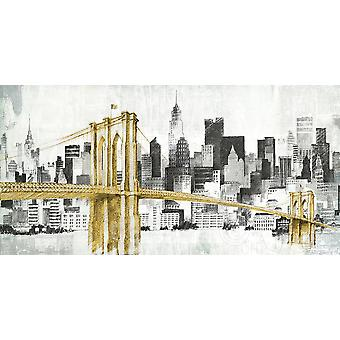 New York Skyline I Yellow Bridge No Words Poster Print by Avery Tillmon