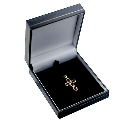 9ct Gold 25x16mm Cross set with 5 Citrine and 1 Pearl