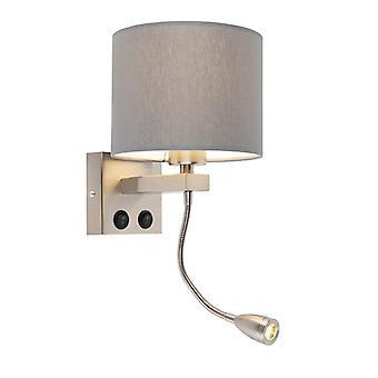 QAZQA pared moderna lámpara Brescia acero con pantalla 18/18/14 gris