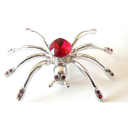 Siam Red Crystals Brooch Spider Brooch Halloween Jewelry Striking Pin