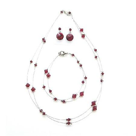 Sexy Passion Red Jewelry Siam Red Crystals Necklace Set
