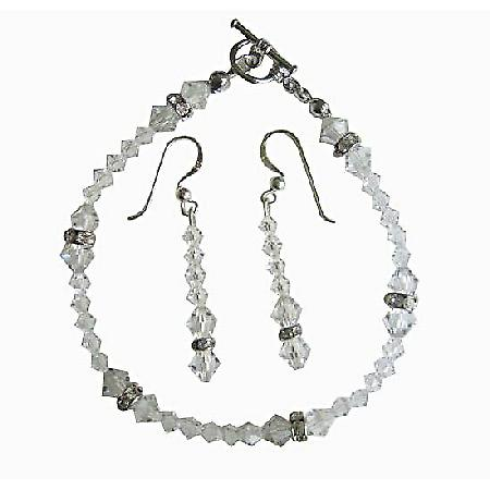Clear Swarovski Irridscent Crystal Bridal Bracelet & Earrings Set w/ Genuine Swarovski  Clear Crystal & Silver Rondells