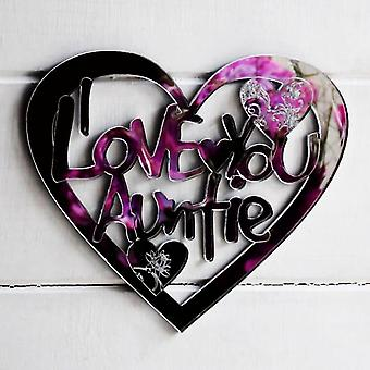 I LOVE YOU AUNTIE Engraved Heart Acrylic Mirror