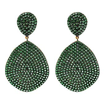 Latelita 925 Sterling Silver Stud Drop Earring Big Gold Emerald Green Statement