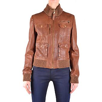 Dolce E Gabbana Brown Leather Outerwear Jacket