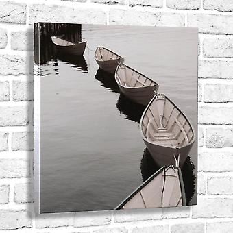 Photo Canvas Grey Boats on the River, Wall Art 60 x 60 cm Attached to Real Wooden Framework