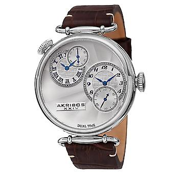 Akirbos XXIV AK796SSBR Men's Quartz Dual Time Leather Silver-Tone Strap Watch