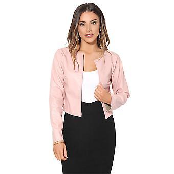KRISP mujeres señoras PU cuero recortado chaqueta abierta Blazer manga larga bolero shrug Coat