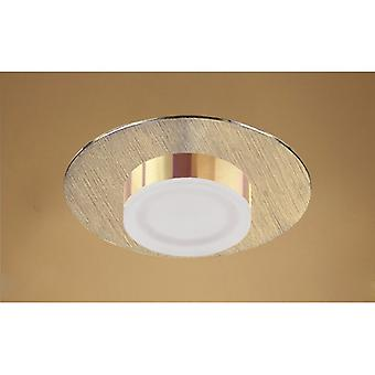 Marcel Recessed Down Light 4w Led Round 3000k Ip44, 360lm, Satin Gold/frosted Acrylic/gold, 3yrs Warranty