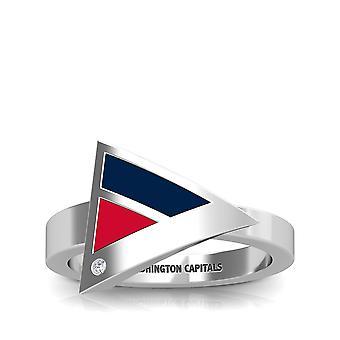 Washington Capitals-Washington Capitals graveret diamant geometriske ring i mørkeblå og rød