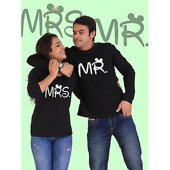 Mr. and mrs. couple full sleeves black t-shirt