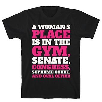 A woman's place is in the gym  white print t-shirt