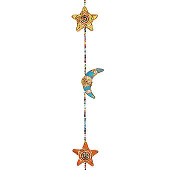 Multi Coloured Hanging Moon & Star With Bell
