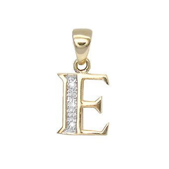 Jewelco London 9ct Yellow Gold Pave Set Round H I2 0.02ct Diamond Identity Dainty Initial ID Charm Pendant Letter E